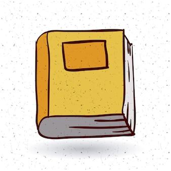 Zamknij ikonę książki. Czytanie z literatury edukacyjnej i temat biblioteki. Izolowany projekt. Tekstura tło