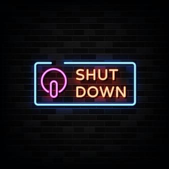 Zamknij neonowe znaki szablon projektu neon styl
