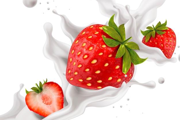 Zamknij się spojrzeć na rozpryskiwania jogurtu truskawkowego ze świeżymi owocami