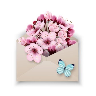 Zamknij się z otwartej papierowej koperty rzemieślniczej pełnej wiosennych kwiatów kwiat szablon wektor