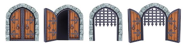 Zamkowa brama wektor średniowieczna kolekcja otwarte drewniane starożytne drzwi żelazny ruszt kamienny łuk na białym tle