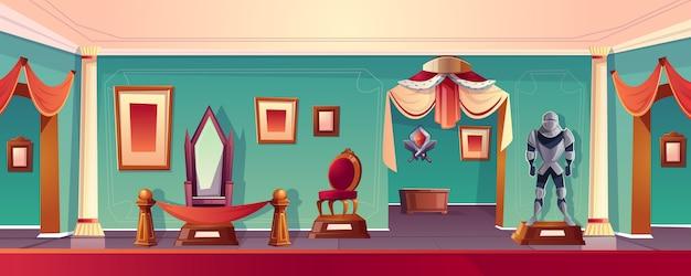 Zamkowa sala muzealna z tronem