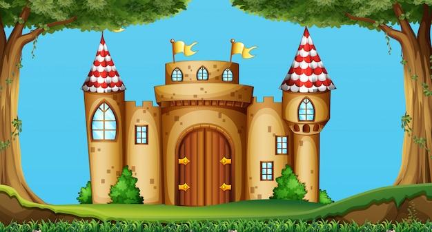 Zamkowe wieże w polu