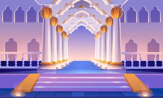 Zamkowy korytarz ze schodami, kolumnami i łukami