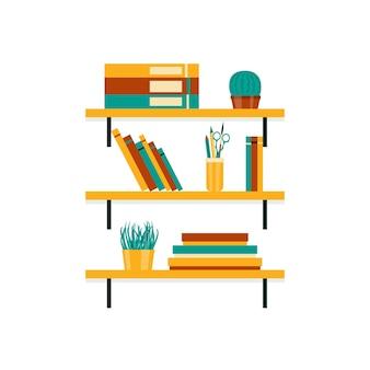 Zamontowana półka z książkami biurowymi i roślinami