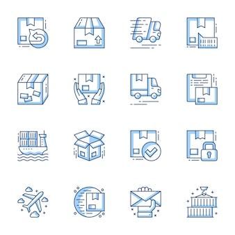Zamów dostawę i ładunek przesyłki liniowy wektor zestaw ikon.