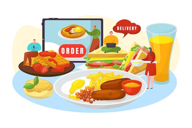 Zamów dostawę jedzenia online na białym tle ilustracji