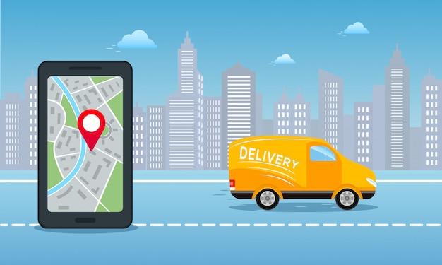 Zamów dostawę usługi online w tle