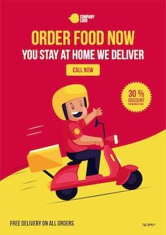 Zamów jedzenie teraz zostajesz w domu dostarczamy projekt ulotki