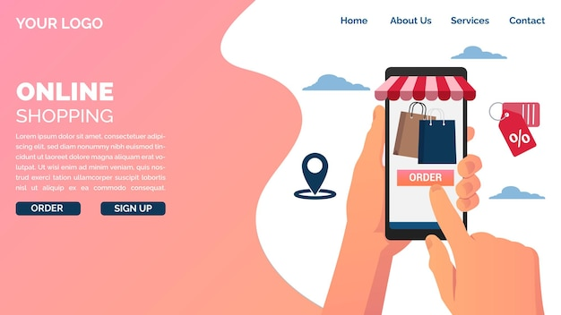Zamów online za pomocą koncepcji strony docelowej telefonu komórkowego.