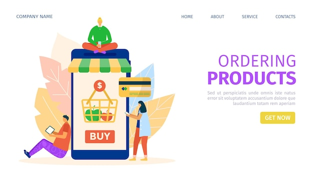 Zamów produkt przez stronę docelową online na smartfonie