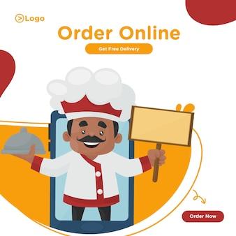 Zamów projekt banera żywnościowego online z szefem kuchni na telefonie komórkowym i trzymającym w ręku talerz