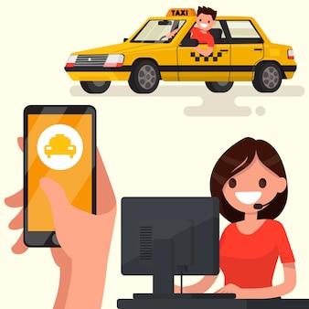 Zamów taksówkę za pośrednictwem aplikacji na ilustracji telefonu