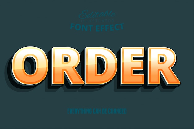 Zamów tekst, efekt edytowalnej czcionki w kolorze żółtym i pomarańczowym 3d