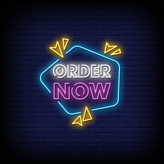 Zamów teraz oferta tekst w stylu neonów