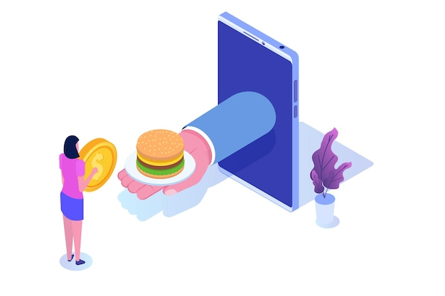 Zamów usługi online w zakresie jedzenia, koncepcja izometryczna dostawy fastfoodów.