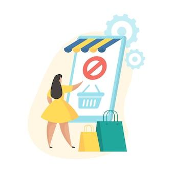 Zamówienie anulowane. ilustracja wektorowa płaski. ikona stanu aplikacji mobilnej zakupów. kobieca postać z kreskówki stojąca w pobliżu ogromnego smartfona z wózkiem na ekranie i anulowaniem zamówienia