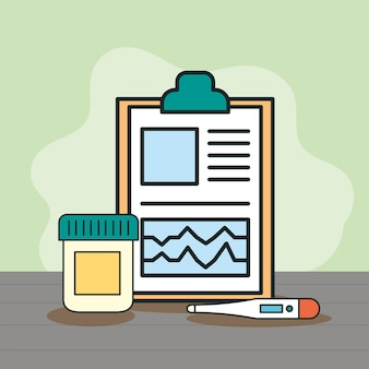 Zamówienie medyczne i termometr