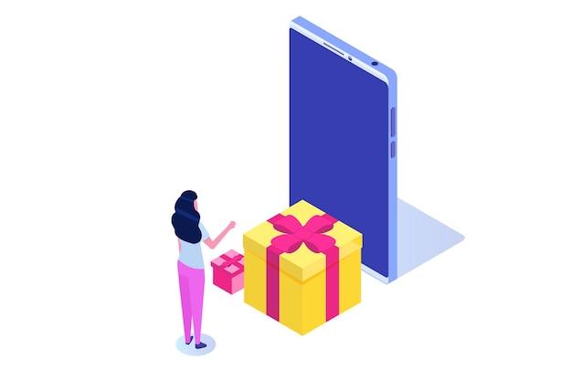 Zamówienie na prezent online, zakupy online, koncepcja e-commerce. ludzie kupują prezenty. ilustracja wektorowa