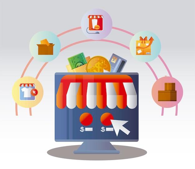 Zamówienie na zakupy online, klikając przycisk ilustracja e-commerce