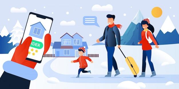 Zamówienie online rezerwacja domu w górach ilustracja usługi