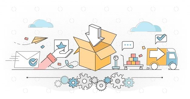 Zamówienie realizacji e-commerce biznes zarys ilustracja koncepcja