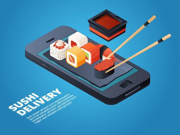 Zamówienie sushi. zamów online lub telefonicznie różne azjatyckie potrawy. obsługa na smartfonie, menu restauracji online, ilustracja sushi i owoców morza