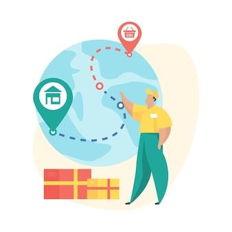 Zamówienie wysłane. ilustracja wektorowa płaski. ikona stanu zamówienia mobilnego. doręczyciel stoi obok kuli ziemskiej z zaznaczoną szpilkami ścieżką śledzenia przesyłek. logistyczna, międzynarodowa usługa dostawy