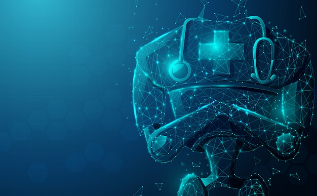 Zamyka up robot lekarka z stetoskopem. sztuczna inteligencja, ai.
