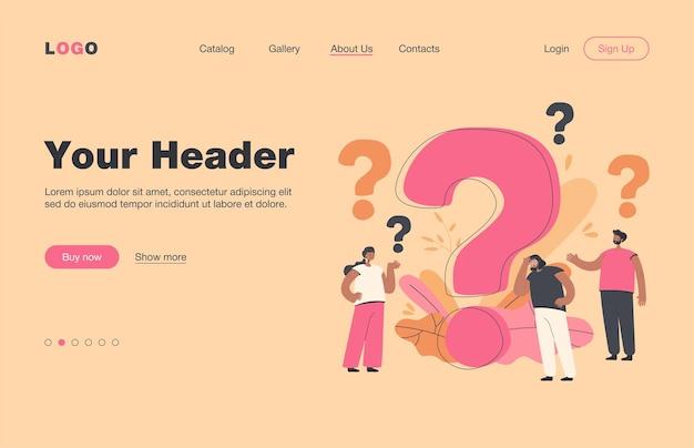 Zamyśleni ludzie zadający często zadawane pytania izolowali płaską stronę docelową. małe postacie z kreskówek stojących w pobliżu ogromnego znaku zapytania. koncepcja pomocy i komunikacji