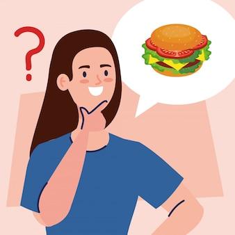 Zamyślona kobieta, kobieta zastanawiająca się, co jeść