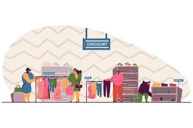 Zamyślone kobiety wybierające ubrania w sklepie płaska ilustracja