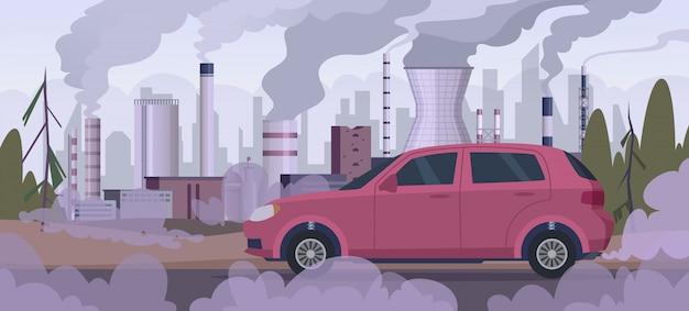 Zanieczyszczający samochód. zanieczyszczenie atmosfery fabryka przemysłowa ruch samochodowy silnik dym zły tło środowiska miejskiego