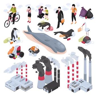 Zanieczyszczenia izometryczny zestaw symboli zanieczyszczenia wody i powietrza na białym tle