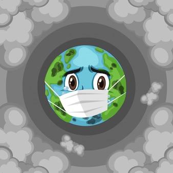 Zanieczyszczenia na ziemi ze smutną ziemską noszącą maskę