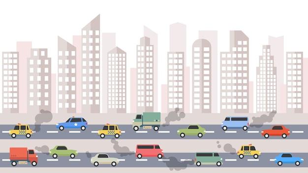 Zanieczyszczenia spalin samochodów w mieście.