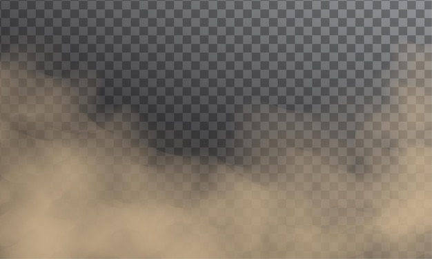 Zanieczyszczenie chmur pyłowych. latający piasek lub brudny dym na białym tle na ciemnym przezroczystym tle