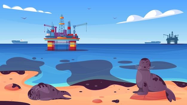 Zanieczyszczenie oceanu plamami oleju na powierzchni wody ze zwierzętami morskimi na płaskiej ilustracji na plaży