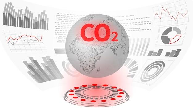 Zanieczyszczenie powietrza co2 planeta ziemia. rosnący wykres uszkodzeń