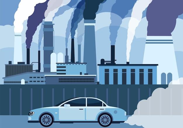 Zanieczyszczenie powietrza przez samochód. samochód i fabryki dymią w mieście