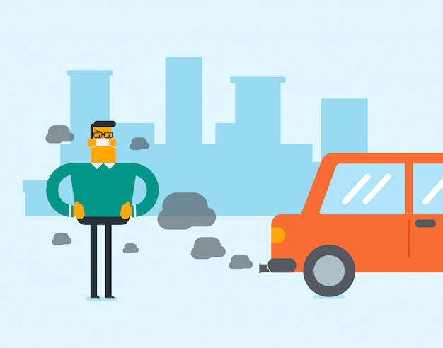 Zanieczyszczenie powietrza spowodowane emisjami co2 z samochodów.