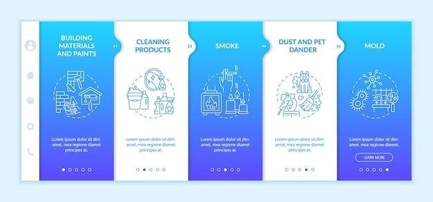 Zanieczyszczenie powietrza w gospodarstwie domowym szablon wektor onboarding. responsywna strona mobilna z ikonami. przewodnik po stronie internetowej 5 ekranów krokowych. pleśń, farby, koncepcja koloru dymu z liniowymi ilustracjami