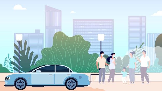 Zanieczyszczenie powietrza w mieście. światowy problem środowiska i sytuacji ekologicznej, brudna atmosfera. krajobraz miejski z ilustracji wektorowych auto i ludzi. problem zanieczyszczenia powietrza, emisja dwutlenku pm2,5