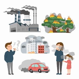 Zanieczyszczenie powietrza w źródłach miasta. przykład toksyczny z fabryki, pożary lasów i ludzi w mieście. ilustracja