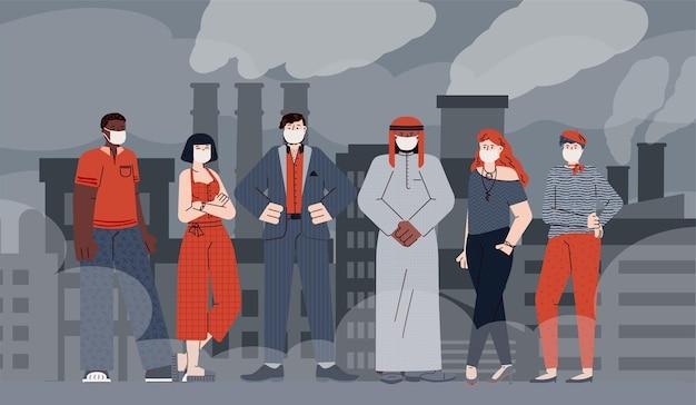 Zanieczyszczenie powietrza z ludźmi w maskach oddechowych wektor ilustracja na białym tle