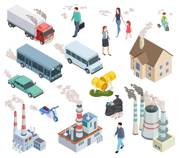 Zanieczyszczenie powietrza. zanieczyszczenia chemiczne pojazd zanieczyszczone powietrze ludzie kwas radioaktywny olej deszcz i zanieczyszczenia roślin izometryczny 3d wektor zestaw