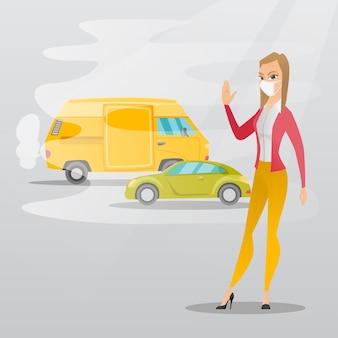 Zanieczyszczenie Powietrza Ze Spalin Samochodowych. Premium Wektorów