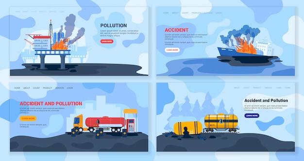 Zanieczyszczenie przemysłu naftowego, ilustracja wektorowa wypadku ekologicznego, kolekcja płaskich ekokatastropów z kreskówek, fabryka zanieczyszcza środowisko