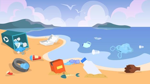 Zanieczyszczenie przyrody. śmieci i śmieci na plaży, niebezpieczeństwo