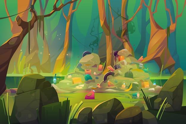 Zanieczyszczenie przyrody, śmieci na leśnym stawie.